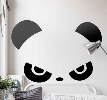 A decorative illustration sticker of angry panda wild animal. Suitable children bedroom wall sticker and the colour is customizable. Easy to apply.