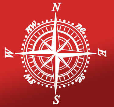 Classical compass car sticker to decorate your vehicle. The compass has the four cardinal direction points for locations. .