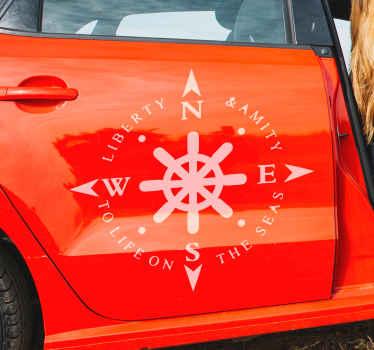 Pegatina coche con brújula con  valores y con timón de barco en la que podrás elegir el color que desees ¡Descuentos disponibles!