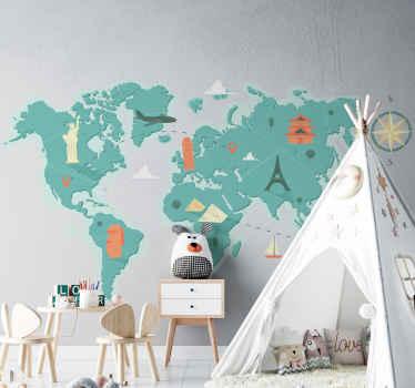 Original vinilo mapamundi infantil para pared con fondo verde pastel y con monumentos. Perfecto elemento educativo y decorativo