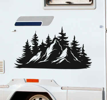 Nice motorhome vinyl decorative decal with design of mountain landscape with trees, a monochrome design that is customizable in other color options.