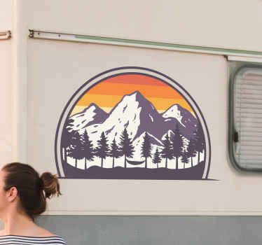 Camper sticker with mountains. The pattern is shaped badge-like and includes high mountains during sunfall. Easy to apply and clean.