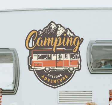 A design for adventure and camping trip lovers. Decorative camping adventure caravan decal with soothing nature landscape designed in form of a badge.