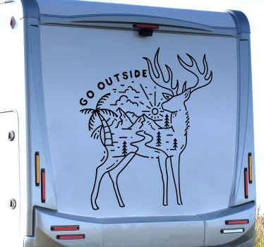 Motorhome sticker which features an image of a deer with a stunning landscape of mountains and trees inside of it. Choose your size.