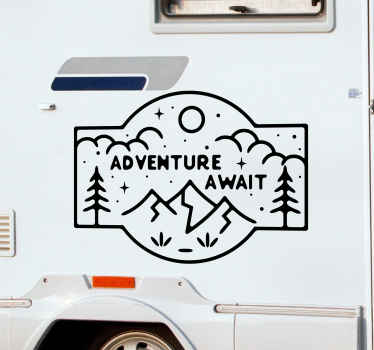 Motorhome sticker which features the text adventure awaits surrounded by mountains and nature. Sign up for 10% off. Custom made.