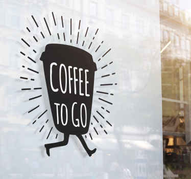 """Murrsticker met de afbeelding van een koffiekopje en de tekst """"coffee to go"""" is perfect om aan te brengen in uwkeuken."""