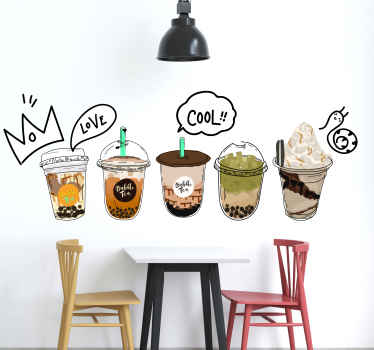 Collection bubble tea pearl milk coffee sticker with images of various types of drinks that you can apply on the walls of your kitchen, dining room.