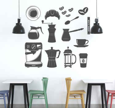 Wonderful set with coffee stickers perfect to decorate the walls of your home with different stickers illustrating utensils used for coffee.