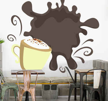 Wall sticker with coffee splash is a perfect way to decorate your kitchen. Easy to clean and apply. Made of high quality vinyl.