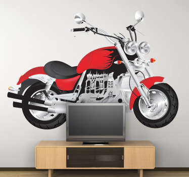 Decorative sticker of a stylish red motorbike. Perfect decal to decorate your room if you love motorbikes!
