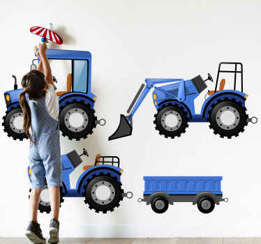Blue tractor pack toy sticker for children room decoration. It is easy to apply and removable. Manufactured with high quality vinyl.