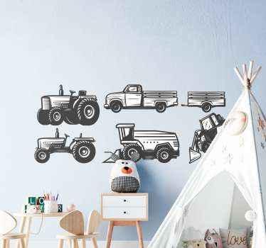 子供部屋とプレイルームの装飾のためのトラクターの描画パックのおもちゃのステッカーのセット。色はカスタマイズ可能で、オリジナルで、粘着性があり、耐久性があります。