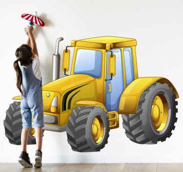 Increíble vinilo para niños de tractor amarillo para que decores el cuarto de tu hijo o hija con un diseño original ¡Descuentos disponibles!