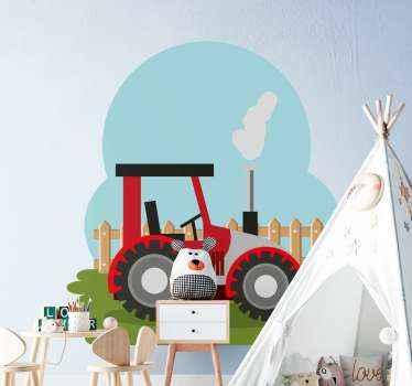 Vinilo para niños de tractor agrícola en un espacio agrícola protegido con valla de madera. El fondo es la vista del cielo azul.