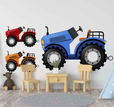 Samolepka na hračky barevné traktory. Design obsahující velký modrý traktor s červeným a oranžovým menším traktorem. Snadno použitelné a odnímatelné.