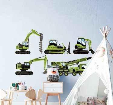 Sets of heavy farm green tractors and bulldozers sticker for home decoration. Children who love toy vehicles would love this design on their space.
