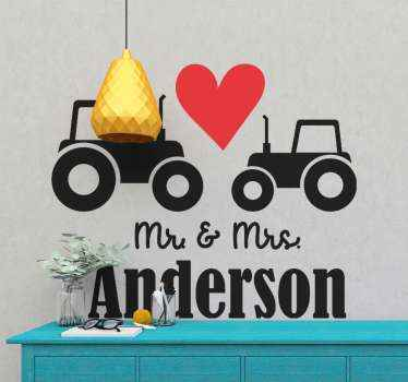 Personalized romantic tractor wedding sticker. The design is self adhesive, durable and really easy to apply without any trouble.