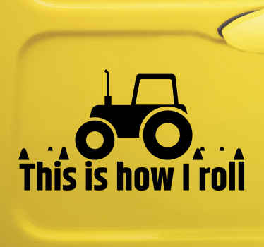 Decorative tractor sticker for car window space. It is branded with text that says 'This is how I roll'. The colour is customizable and easy to apply.