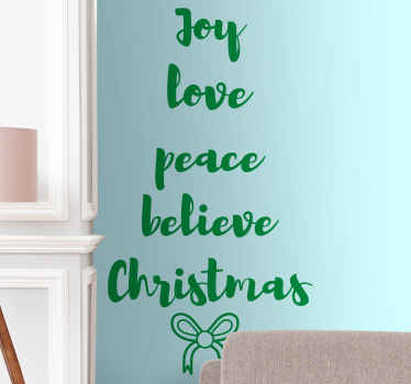 Simple text sticker foe Christmas decoration. The design holds Christmas phrases such as love, joy, peace, believe and Christmas.