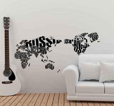 居間のテキスト世界地図ウォールステッカー。あなたはまた、デザインで、あるいはあなたの寝室でさえ、オフィスとゲストスペースを列福することができます。