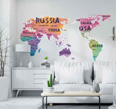 Text pastel colour world map sticker sticker with design naming different country on different continents on the map. Available in any size you want.