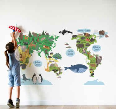 子供の寝室スペースのイラスト世界地図ステッカー。動物で描かれている子供の寝室のためのロケーションマップのデザインを完璧にします。