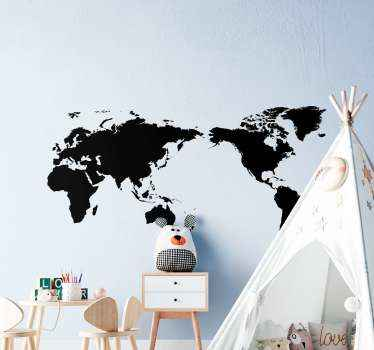 Chalkboard world map write on sticker. This writing surface map decal would be great to decorate children's room and also suitable for other spaces.