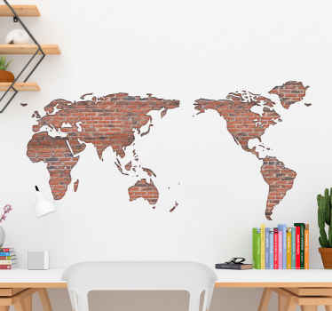 Brick wall world map sticker for home and office decoration. The lovely location world map is printed in texture that imitates brown brick wall.