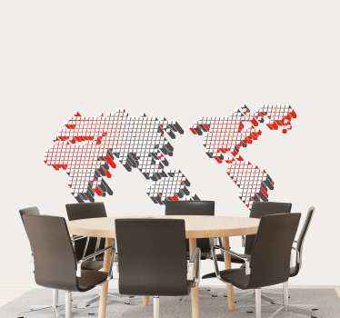 Cube pattern world map wall decal to decorate your home in a lovely way with world location representation. Easy to apply and available in any size.