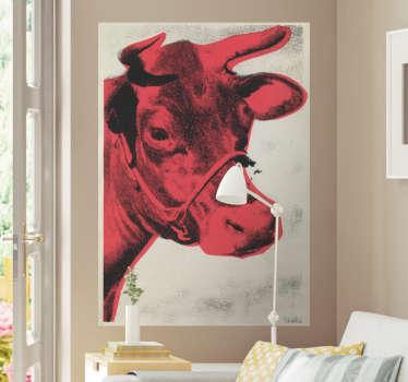 Muursticker zeefdruk koe rood
