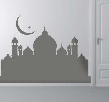 Monochrome sticker representing a mosque for your wall decoration in your home. A religious decal to decorate any smooth surface.