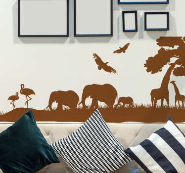 A superb Savannah silhouette decal from our collection of jungle wall stickers where you can see a variety of animals.