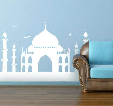 A monochrome sticker illustrating India's main touristic attraction, the Taj Mahal. A brilliant travel decal for those that love travelling!