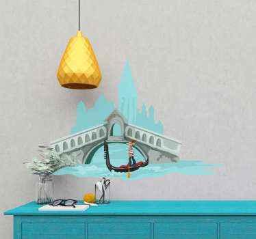 Autocollant d'illustration de gondole affichant un gondolier sur un bateau traversant une rivière sous un pont. Il est auto-adhésif.