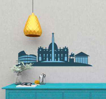 Lovely Italy  cityscape skyline wall sticker displaying important and iconic buildings of Italy. It is easy to apply and self adhesive.