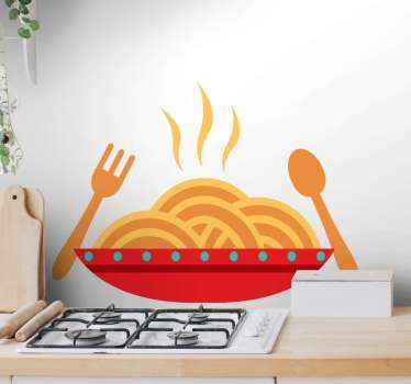 Italian spaghetti country sticker for your kitchen or dinning wall decoration. Also a suitable restaurant food sticker decoration.