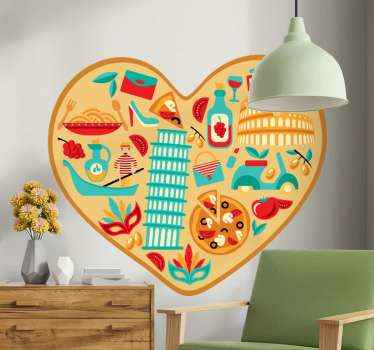 Heart-shaped Italian symbols country sticker. You can decorate this design on a kitchen or dinning space. It is durable, adhesive and easy to apply.