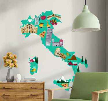 Decorative Italian wall map decal with iconic illustrations peculiar to Italy. On the map are features such as famous buildings, landscape, food, etc.