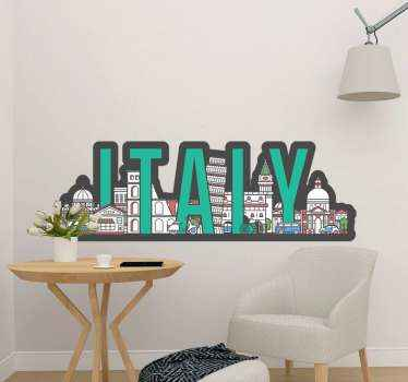Decorate your home with the skyline sticker of Italy featuring famous Italian buildings. It is self adhesive, durable and easy to apply.