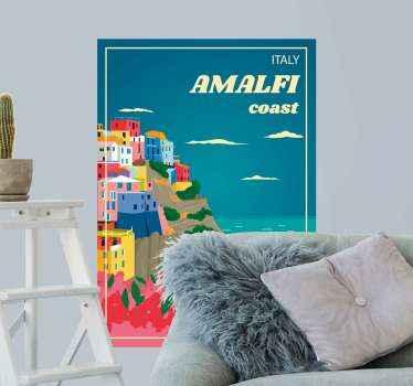 Autocollant de pays de la côte italienne d'amalfi pour un salon et d'autres espaces. Cela animerait votre maison d'une manière charmante.