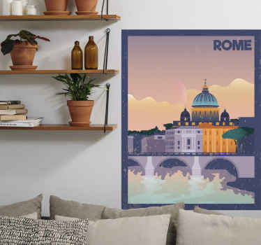 Italian vintage poster with Roma country decal. Lovely sticker you would sure love on your space and it can be applied on any flat surface.