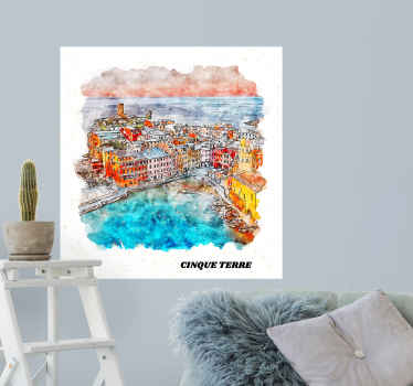 Italian coast of Cinque Terre country sticker to decorate your home in a lovely way. It can be framed on your wall or applied directly on surface.