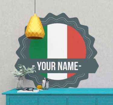 Customize your name on our original Italian country badge sticker. An Italy flag design in the form a badge, you would love it on your space.