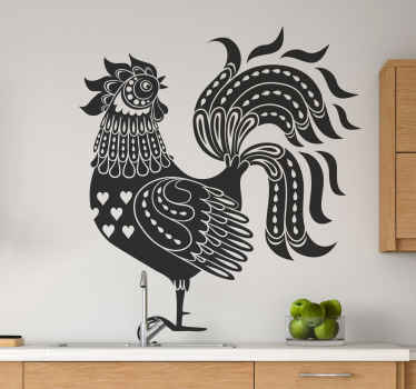 διακοσμητικό αυτοκόλλητο τοίχου πουλερικού κόκορα σχεδιασμένο σε στυλ σχεδίου. ένα αυτοκόλλητο με κόκορα με μεγάλη ουρά. το χρώμα είναι προσαρμόσιμο.