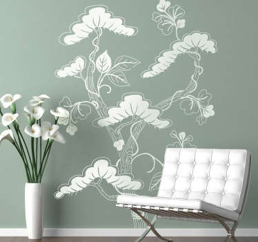 Wall Stickers - Asian themed floral design. An ideal feature for decorating your home or business. Available in various sizes.