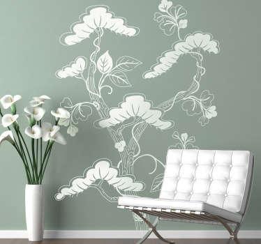 Aziatische boom bloemen sticker