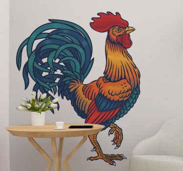 ρεαλιστικό αυτοκόλλητο τοίχου με κόκορα που απεικονίζεται να περπατάει με το ένα πόδι προς τα πάνω. όμορφο για σαλόνι και μπορεί να εφαρμοστεί σε οποιονδήποτε άλλο χώρο.