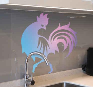 Fialová samolepka s prechodovým kohútom na stenu pre kuchyňu. Dizajn ilustruje kráčajúcu pekáč, ktorý sa obzerá za seba. Je samolepiaci a odolný.