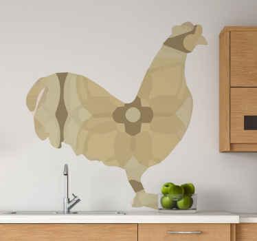 Vinilo para cocina con diseño de un gallo floral en tonos beige para que decores a tu gusto. Elige tus medidas ¡Envío exprés!