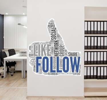 Wall Stickers - Typographic illustration of a thumbs up filled with words associated with social network. Available in various sizes. Decals.